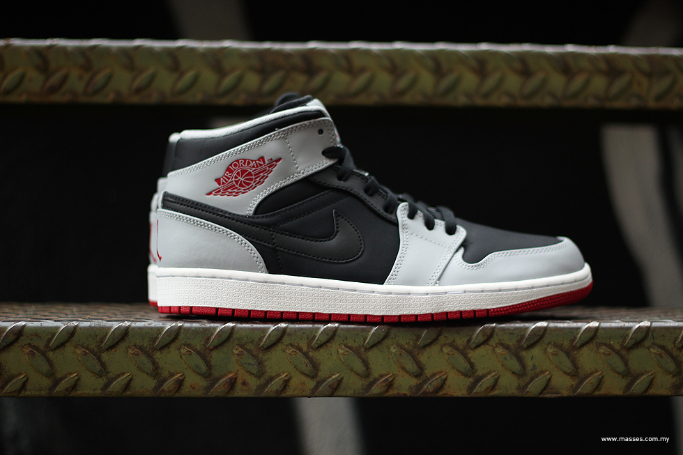 new products hot sale premium selection Nike Air Jordan 1 MID Black/Gym Red/Wolf Grey Detailed look ...