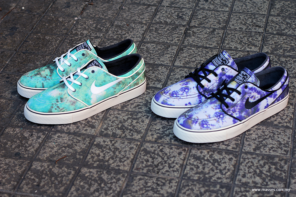 We've seen a few of tie dyed Nike SBs before, but this is the first time ever we see the tie dye element being used for the Nike SB Zoom Stefan Janoski