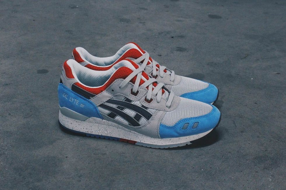 asics gel lyte iii blue red and grey
