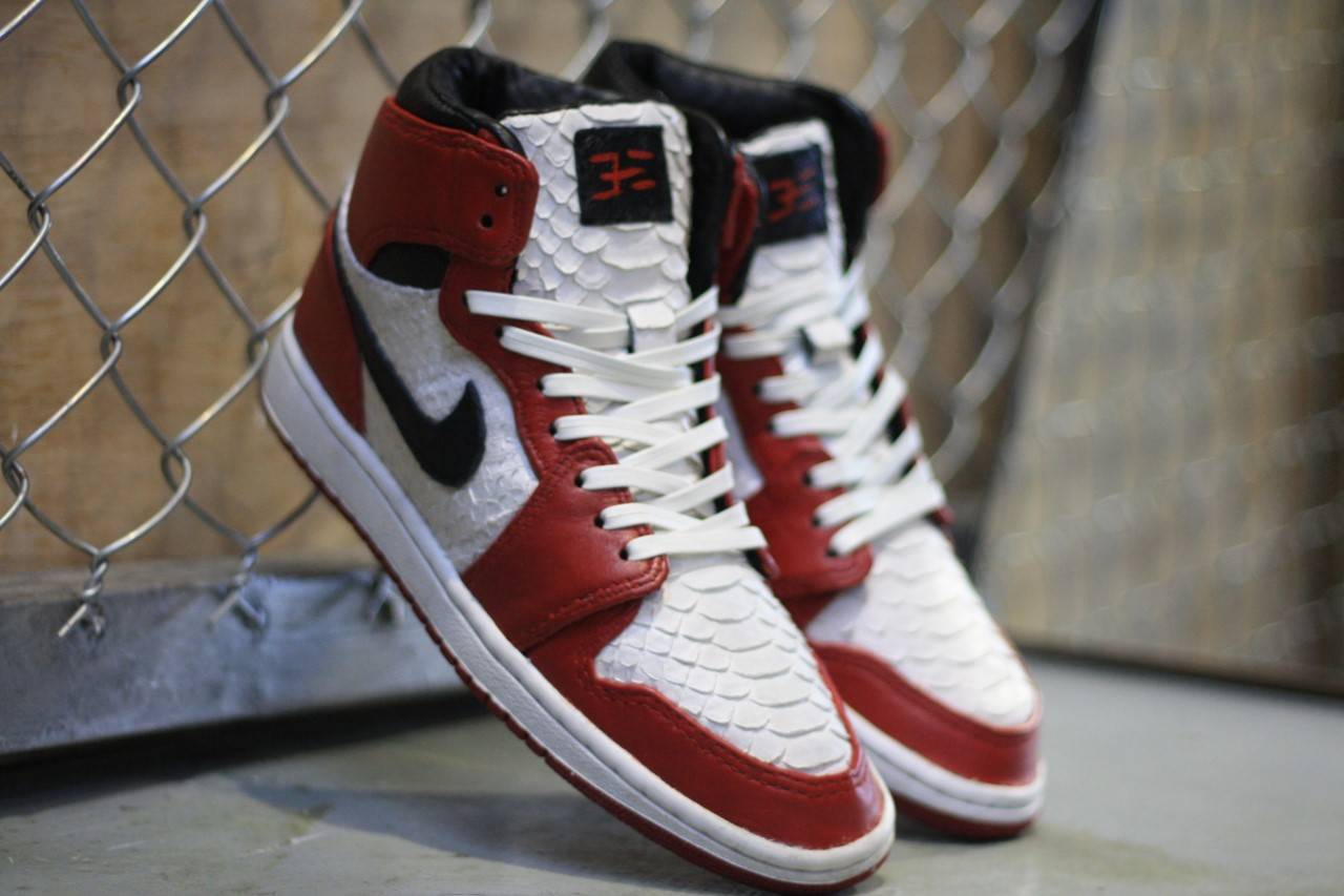 the best attitude 9a2d2 5bc8e Check Out This Handmade Custom Python Inspired Air Jordan 1 ...